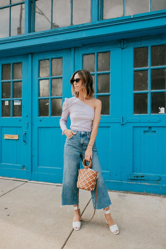 Blogger Mary Krosnjar wearing Who What Wear One Shoulder Top and Topshop Denim