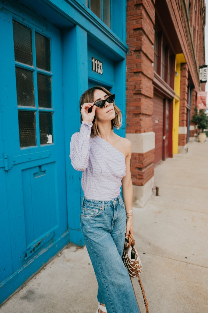Blogger Mary Krosnjar wearing Who What Wear One Shoulder Top and Topshop Wide Leg Deinm