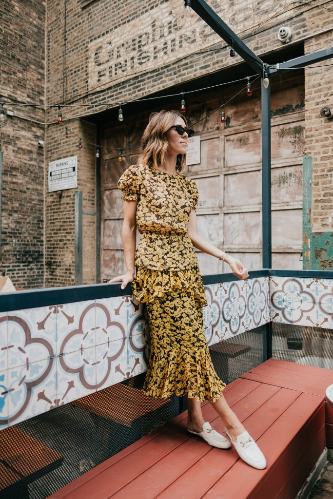 Blogger Mary Krosnjar wearing Who What Wear Floral Printed Set
