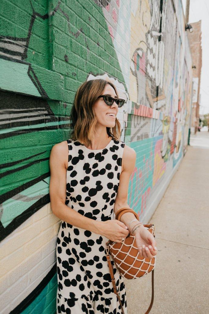 Polka Dot Sleeveless Ruffle Dress and Mango Net Bag