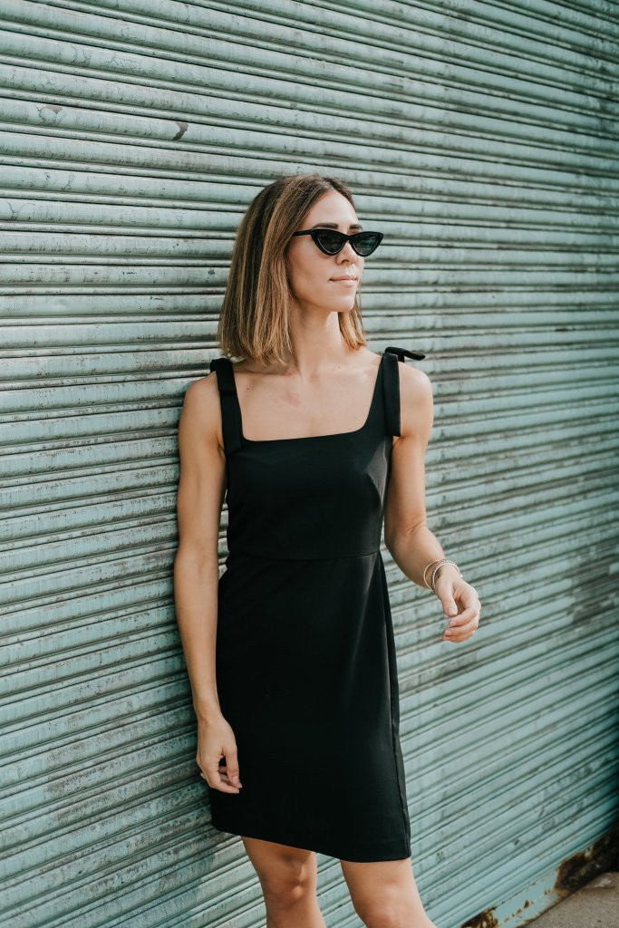 Blogger Mary Krosnjar wearing Ann Taylor Bow Strap Sheath Dress and Cat Eye Sunglasses