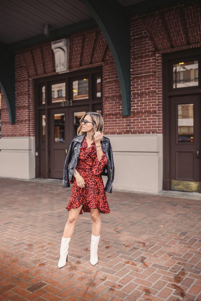 Blogger Mary Krosnjar wearing Leopard Print Ruffle Trim Wrap Dress and Blank NYC faux leather jacket