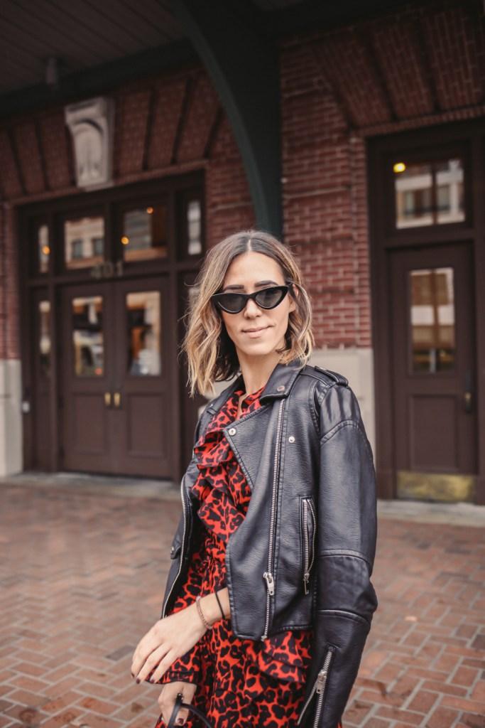 Blogger Mary Krosnjar wearing Leopard Print Ruffle Trim Wrap Dress and Amazon Cat Eye Sunglasses
