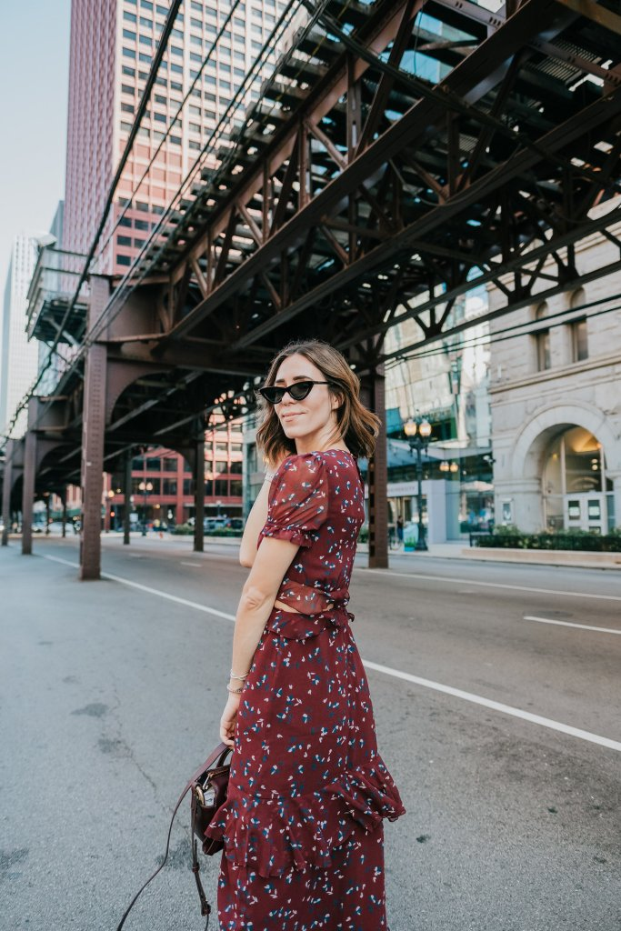 Blogger Mary Krosnjar wearing WAYF Laviana Maxi Dress and Cat Eye Sunglasses