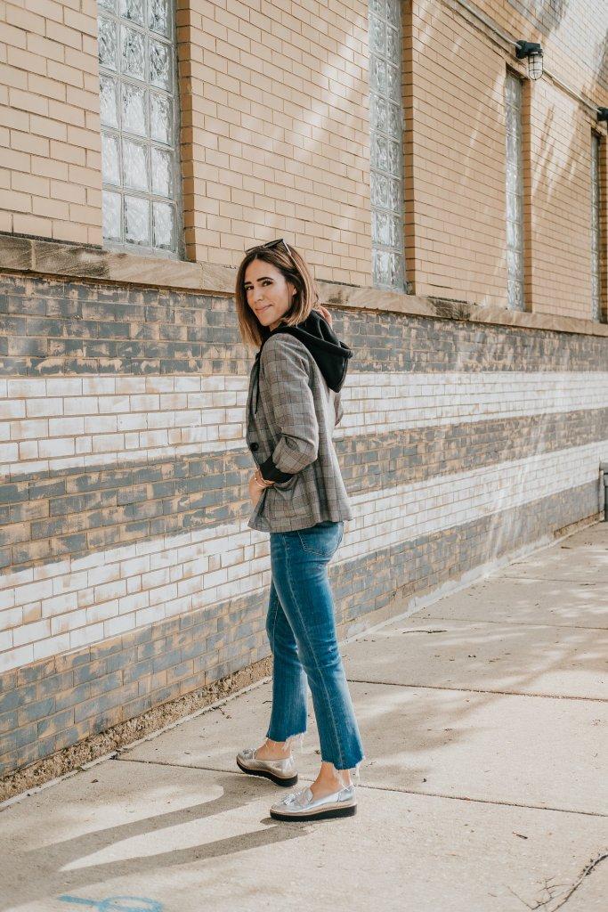 Blogger Mary Krosnjar Wild Fable Plaid Hooded Layered Blazer Jacket and Madewell Cali Demi Boot Denim