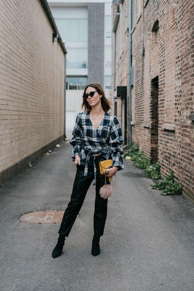 Blogger Mary Krosnjar wearing Puff Sleeve Wrap Top and Furla Mini Metropolis Bag
