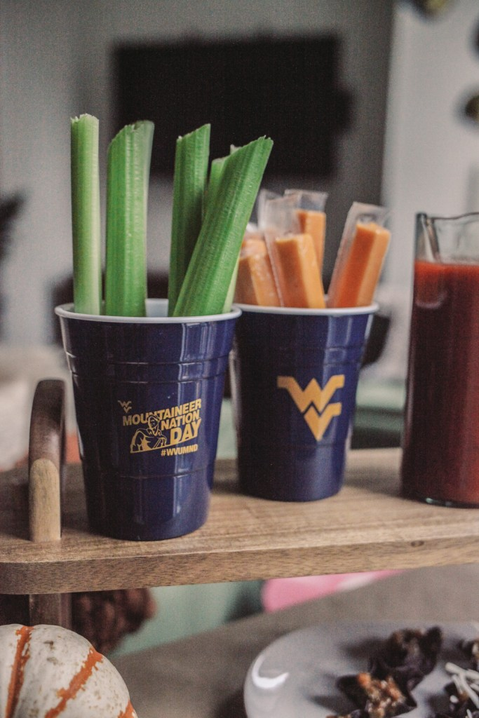 Blogger Mary Krosnjar sharing Bloody Mary bar