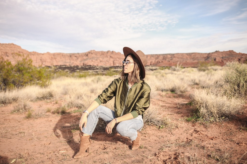 Blogger Mary Krosnjar wearing 3.1 Phillip Lim Bomber Jacket and Brixton Wide Brim Hat