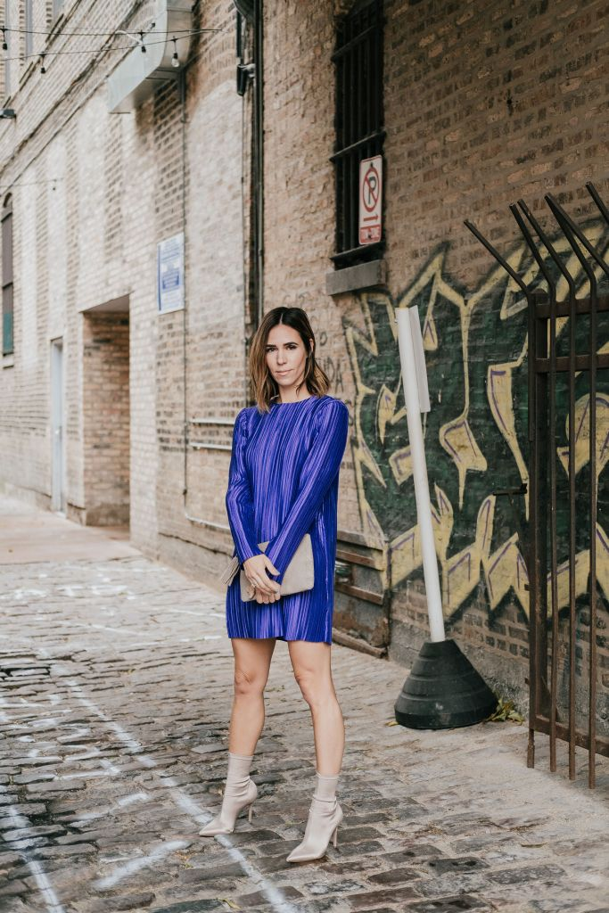 What to wear to a holiday party and Tibi Purple Mini Dress