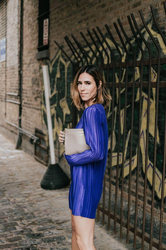Blogger Mary Krosnjar wearing Tibi Mini Dress and Gigi New York Clutch