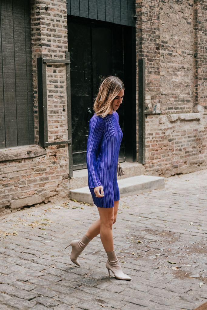 Blogger Mary krosnjar wearing Tibi Purple Mini Dress