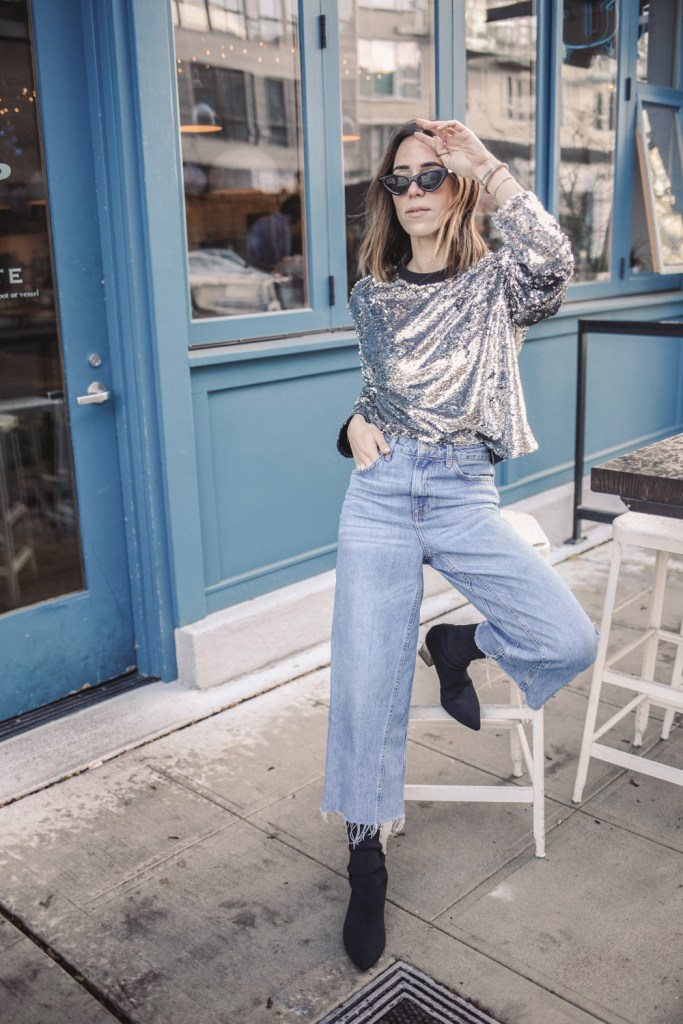 Blogger Sportsanista wearing Something Navy Casual Sequins Sweatshirt and Topshop Crop Wide Leg Jeans