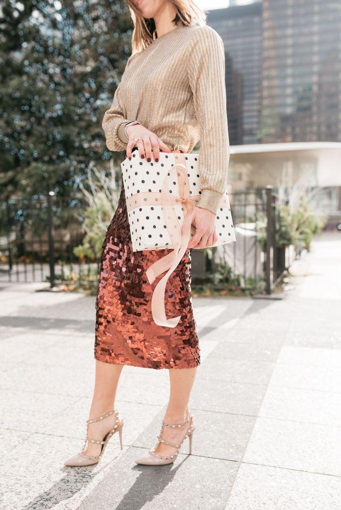 Blogger Sportsanista wearing Long Sleeve Metallic Pullover and Halogen Sequin Pencil Skirt