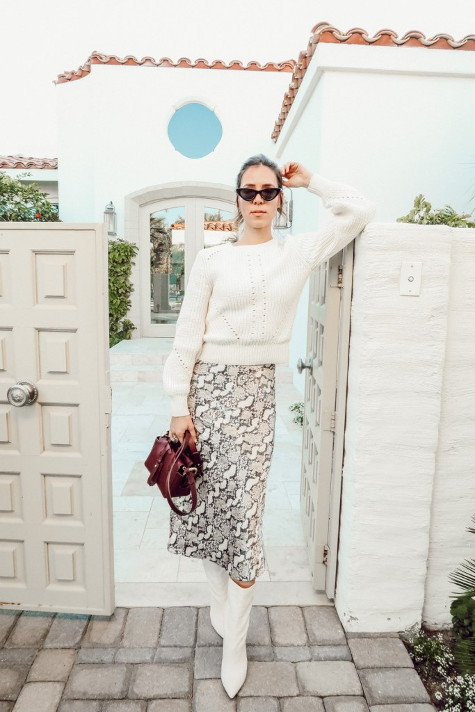 Blogger Mary Krosnjar Snake Skin Calf Print Skirt and Dolce Vita White Leather Booties