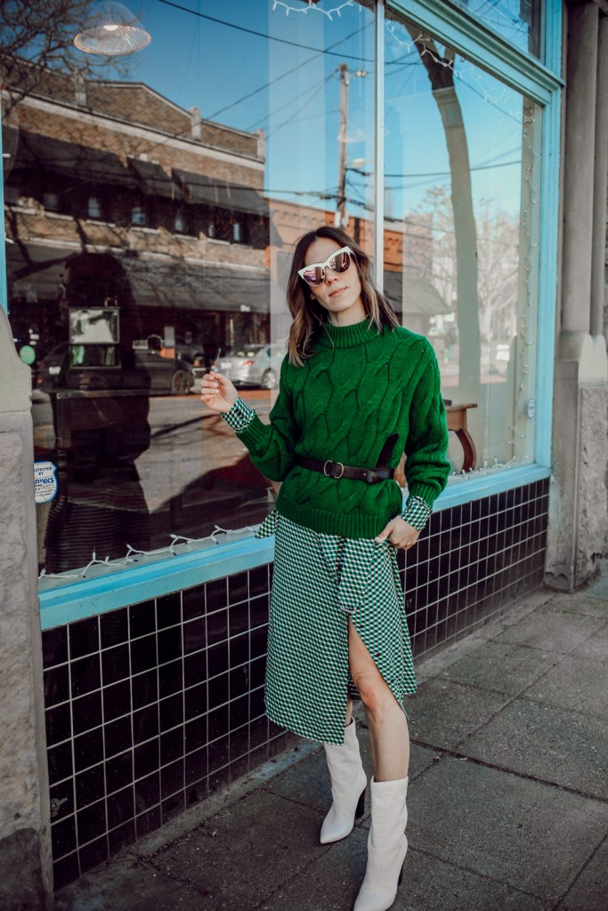 Blogger Sportsanista wearing H&M V-Neck dress and Dolce Vita Elan Midi Calf Boot
