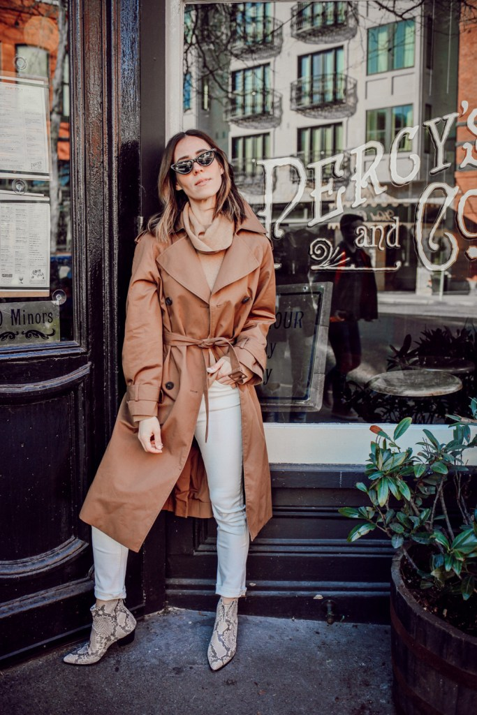 Seattle Fashion Blogger Sportsanista wearing H&M Trenchcoat with Steve Madden Women's Café Western Boot in Snakeskin