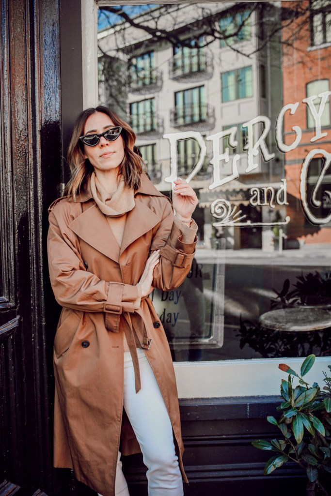 Seattle Fashion Blogger Sportsanista wearing H&M Trenchcoat and fine-knit turtleneck