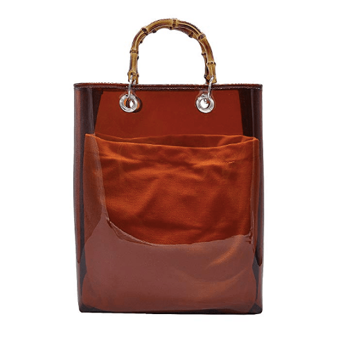 Women Clear Bamboo bag 2 in 1 PVC Transparent Handbags