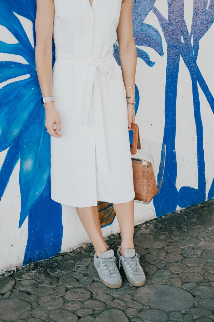 Seattle Fashion Blogger Sportsanista wearing Golden Goose Superstar Sneakers and Banana Republic Tencel White Trench Dress