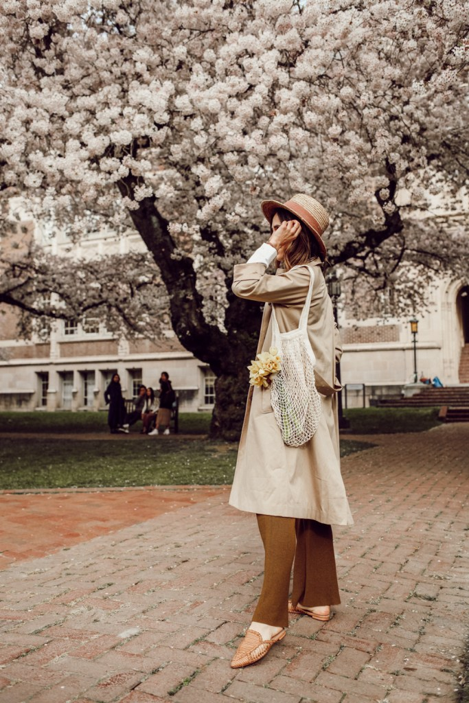 Seattle Fashion Blogger wearing H&M trench Coat and Schutz Marli Point Toe Flats