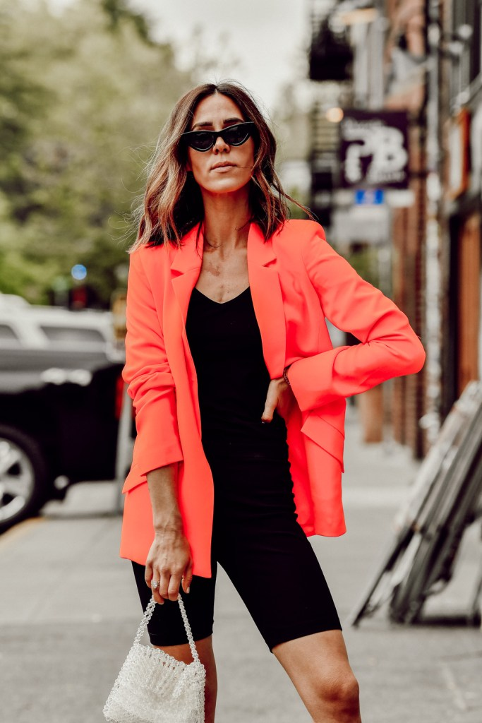 Seattle Fashion Blogger Sportsanista wearing Orange Bardot Duchess Open Blazer and Black Cat Eye Sunglasses