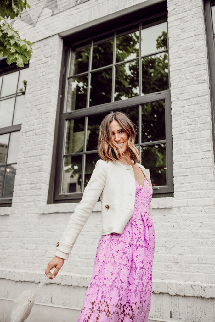 Seattle Fashion Blogger wearing Donna Morgan Women's Chemical Lace Spaghetti Strap Midi Dress and Sam Edelman Violet Mini Bag