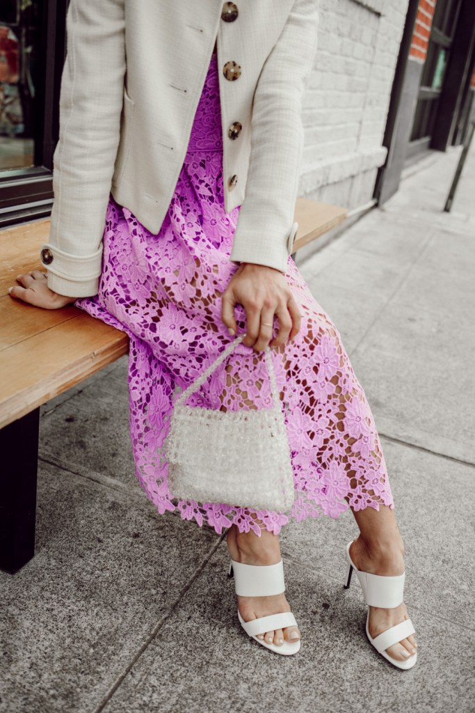 Seattle Fashion Blogger Sportsanista wearing Sam Edelman Violet Mini Bag and Calvin Klein Women's Rema Heeled Sandal