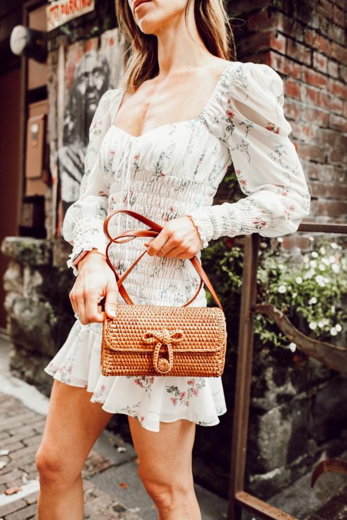 Seattle Fashion Blogger Sportsanista wearing Rattan Woven Crossbody Bag from Amazon