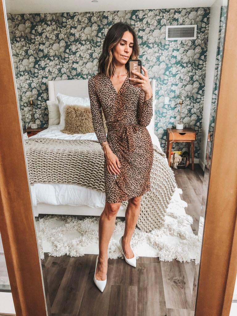 Seattle Fashion Blogger Sportsanista wearing Leopard Wrap Dress from Amazon