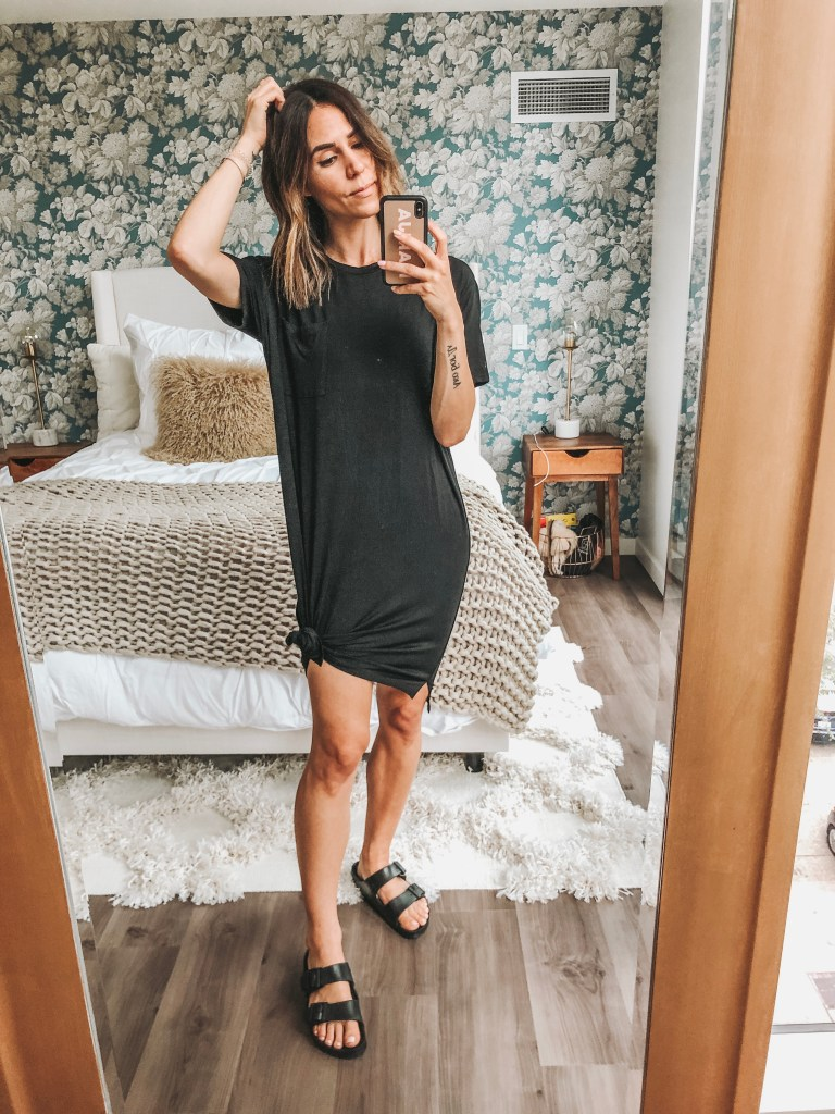 Seattle Fashion Blogger Sportsanista wearing t-shirt dress from Amazon and rubber Birkenstocks
