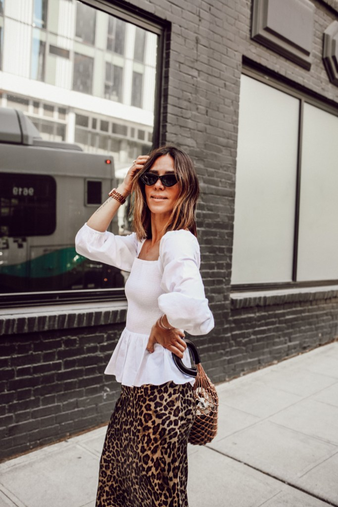 Seattle Fashion Blogger Sportsanista wearing Smocked Top and Leopard Skirt