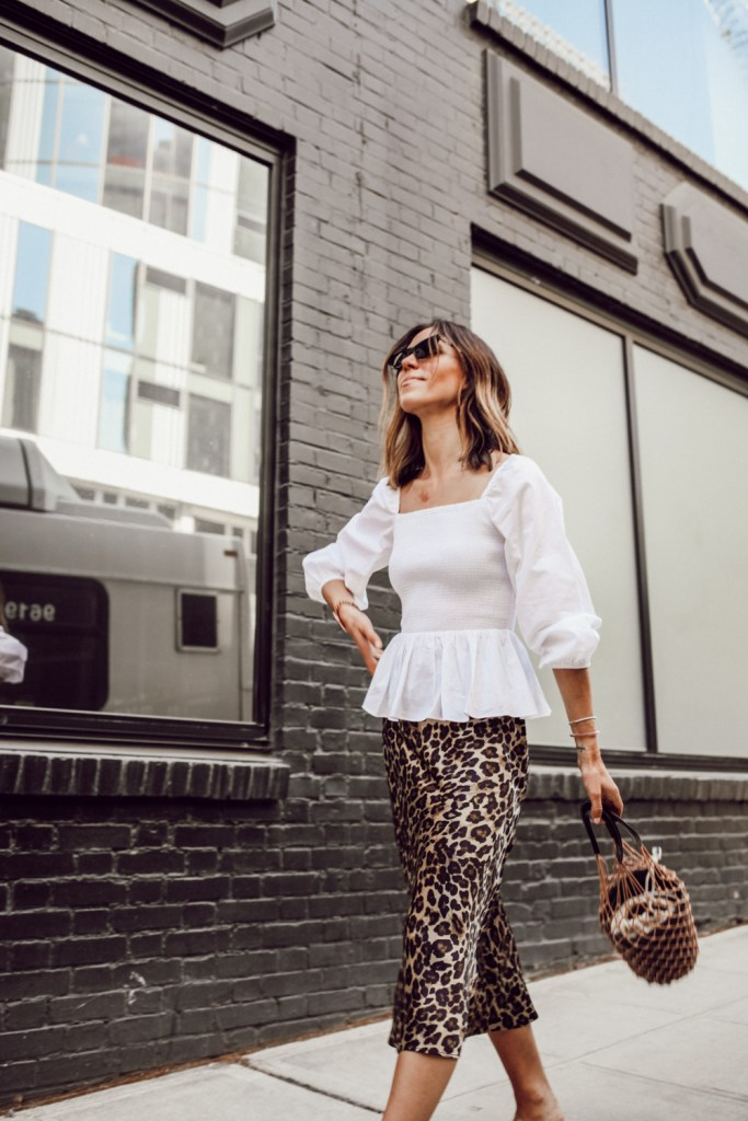 Seattle Fashion Blogger Sportsanista wearing Thomas Mason® for J.Crew long-sleeve smocked top and Leopard Satin skirt