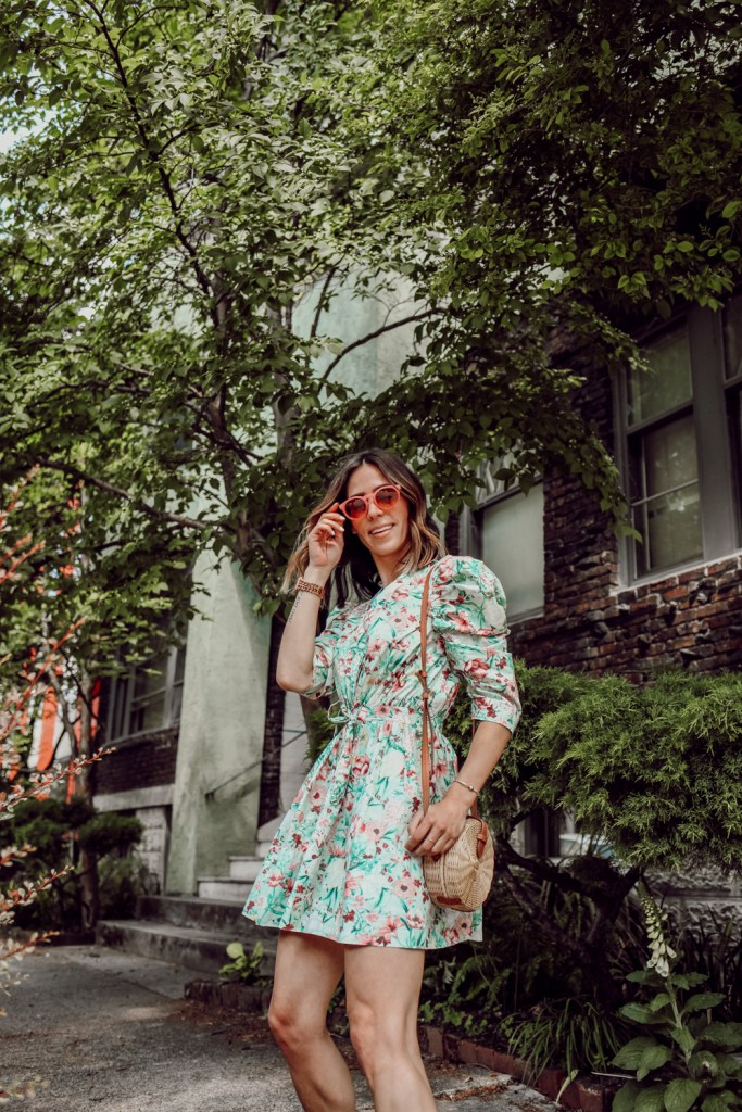 Seattle Fashion Blogger Sportsanista wearing Ronny Kobo Floral Dress and QUAY AUSTRALIA Tinted Pink Sunglasses