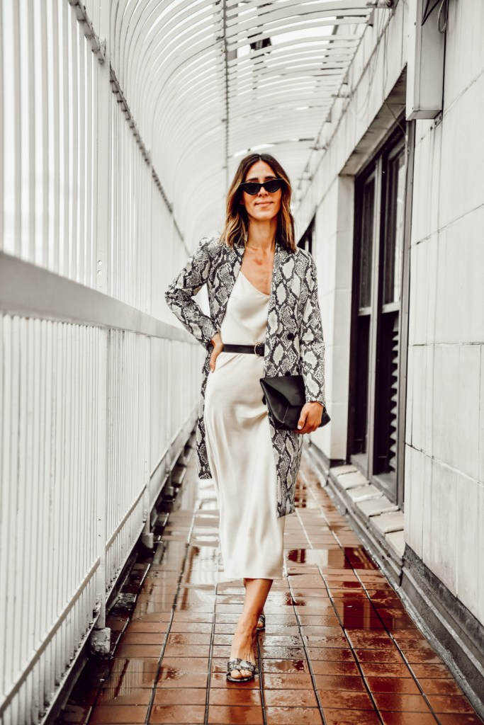 Seattle Fashion Blogger Sportsanista wearing Slip Dress and animal print Mural Snakeskin Faux Leather Jacket