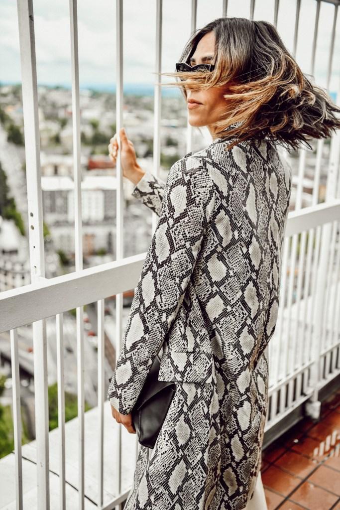 Seattle Fashion Blogger Sportsanista sharing Stylelogue wearing animal print to work