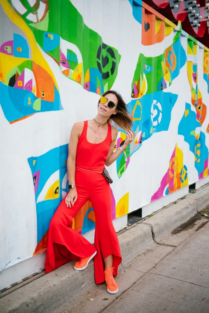 Seattle Fashion Blogger Red Jumpsuit with frilled bottom and Nike Mid Blazer Orange Mesh for Lollapalooza Outfit Inspiration