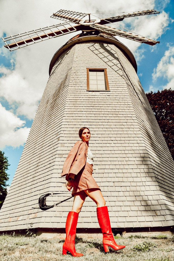 Seattle Fashion Blogger Sportsanista wearing Red Check Blazer, Red Check Skirt and Sam Edelman Hiltin Knee High Red Croc boot for fall