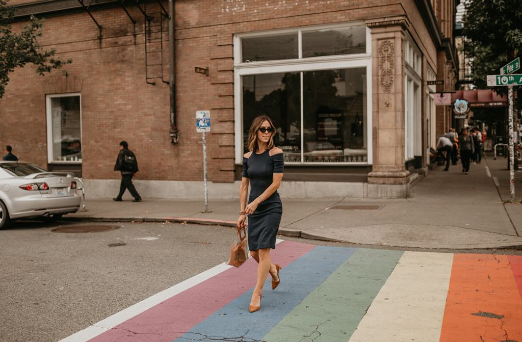 Seattle Fashion Blogger wearing Amazon Cold Shoulder Dress for workwear inspired look
