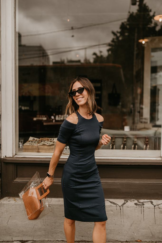 Seattle Blogger Sportsanista wearing Lark and Co Cold Shoulder Dress in Navy for workwear Look