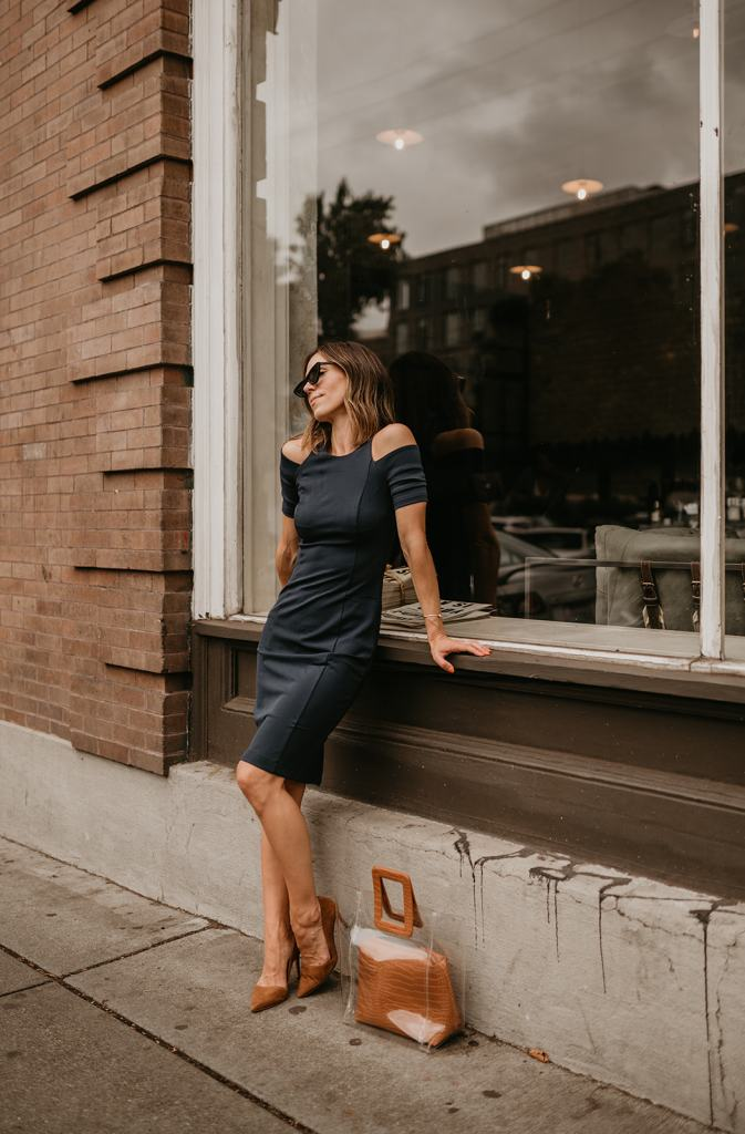 Seattle Fashion Blogger Sportsanista wearing Lark and Co Cold Shoulder Dress for workwear outfit inspiration