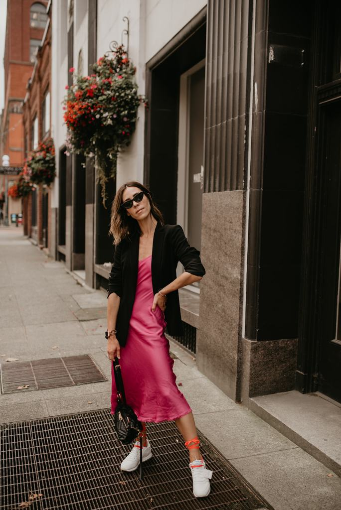 Seattle Blogger Sportsanista wearing Black Oversized Blazer and Nation LTD Slip Dress with Sneakers for Fall Look