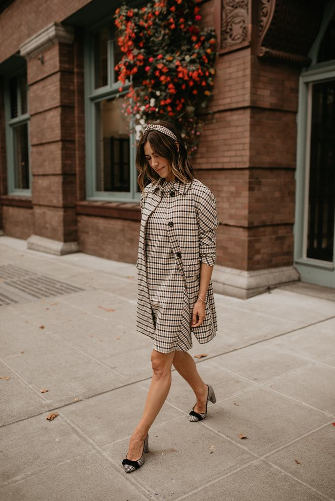 Seattle Blogger Sportsanista wearing Ann Taylor Classic Plaid Coat and Mock Neck Dress for Fall