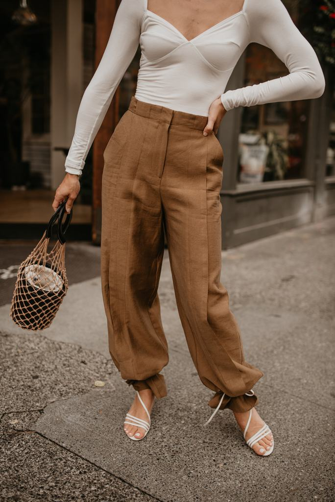 Seattle Blogger wearing Reformation Bodysuit and Topshop Wide Leg Pants