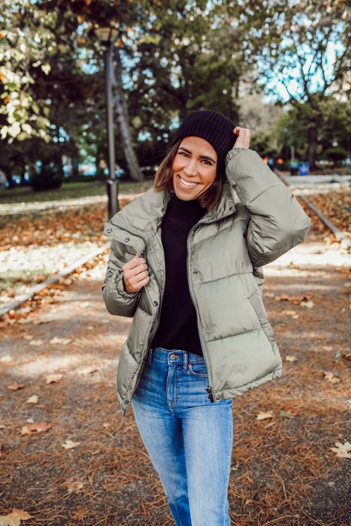 Sportsanista wearing The Drop Women's Dani Recycled Poly Puffer Jacket and The Drop Women's Gwen Long Sleeve Mock Neck Ribbed Sweater
