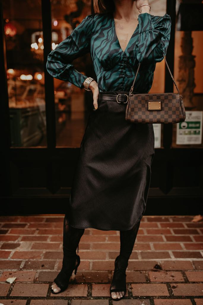 Seattle Blogger Mary Krosnjar wearing Slip Skirt and Gucci tights combination