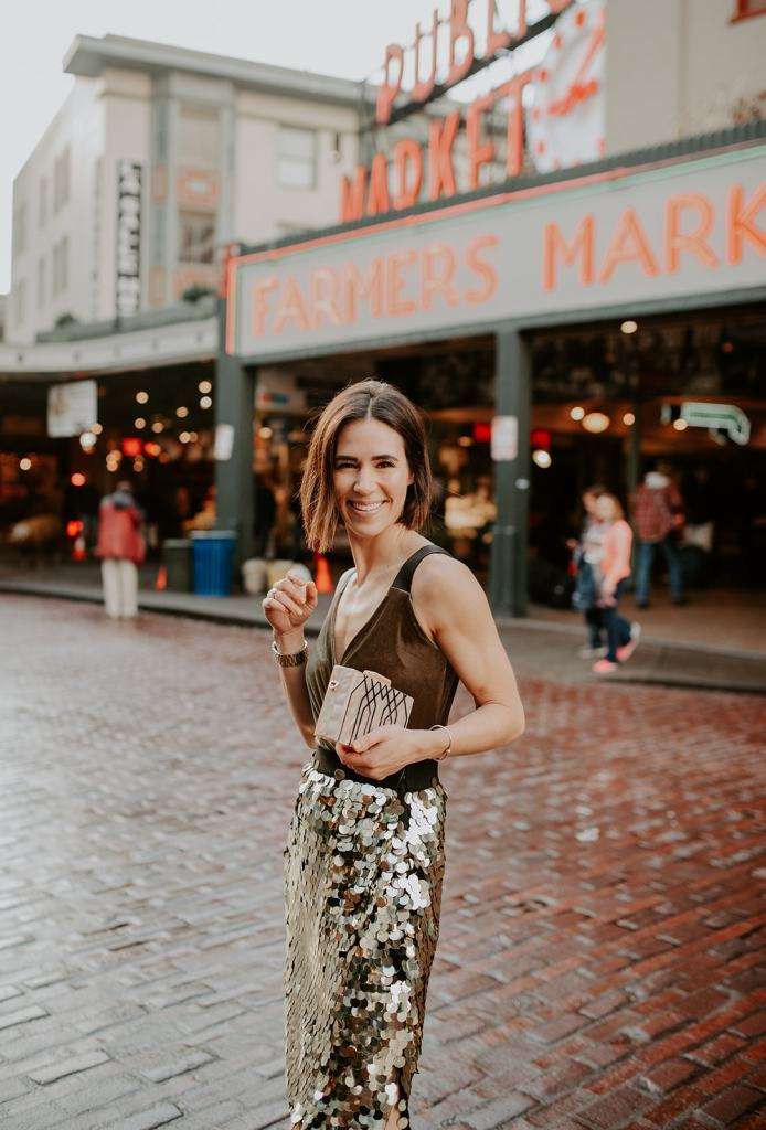 Blogger Mary Krosnjar wearing Bailey 44 Velvet Top and French Connection Sequin Skirt