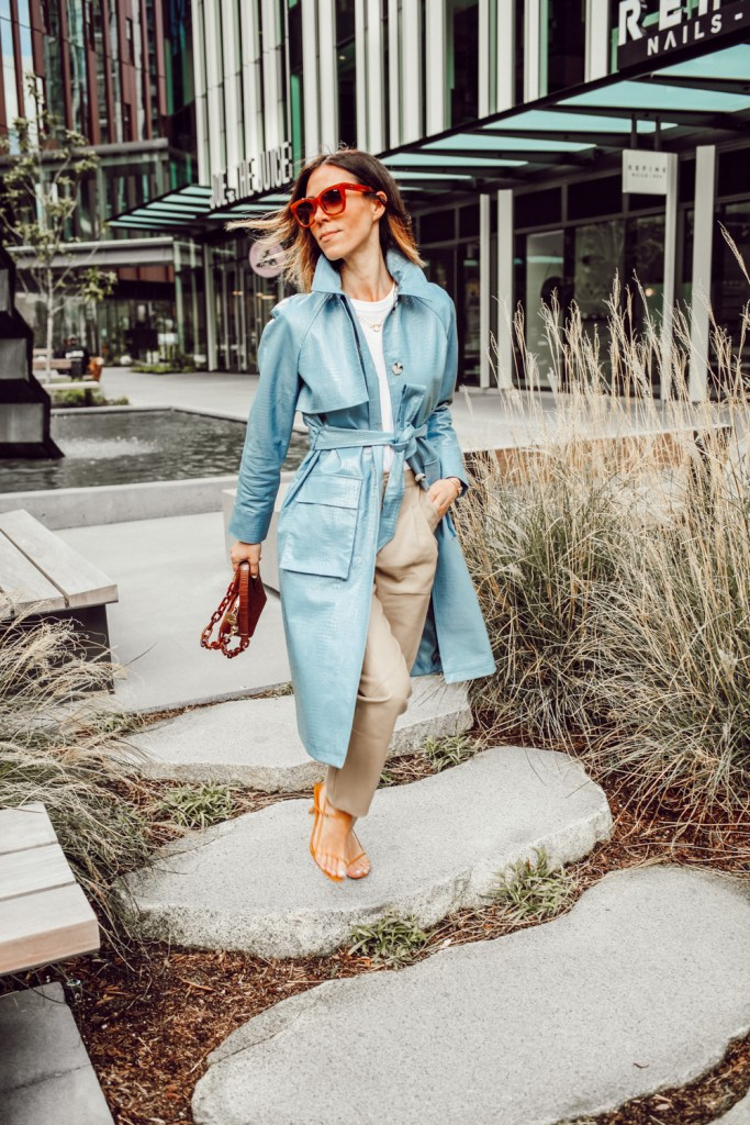 Blogger Mary Krosnjar wearing Faux Leather Trench Coat and Faux Leather Cream Pants
