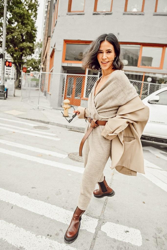 Seattle Blogger Mary Krosnjar wearing knitwear jumpsuit by sskein