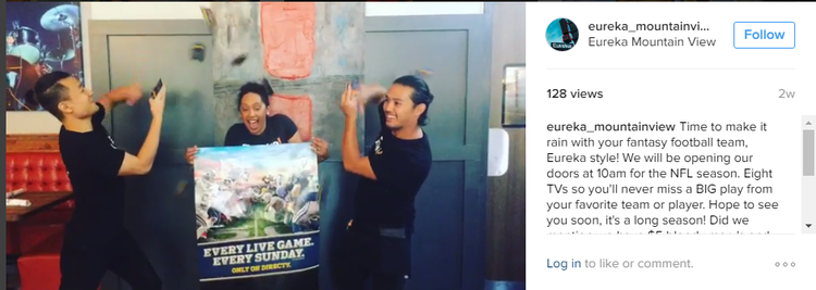 Eureka sports bar Instagram football promotion