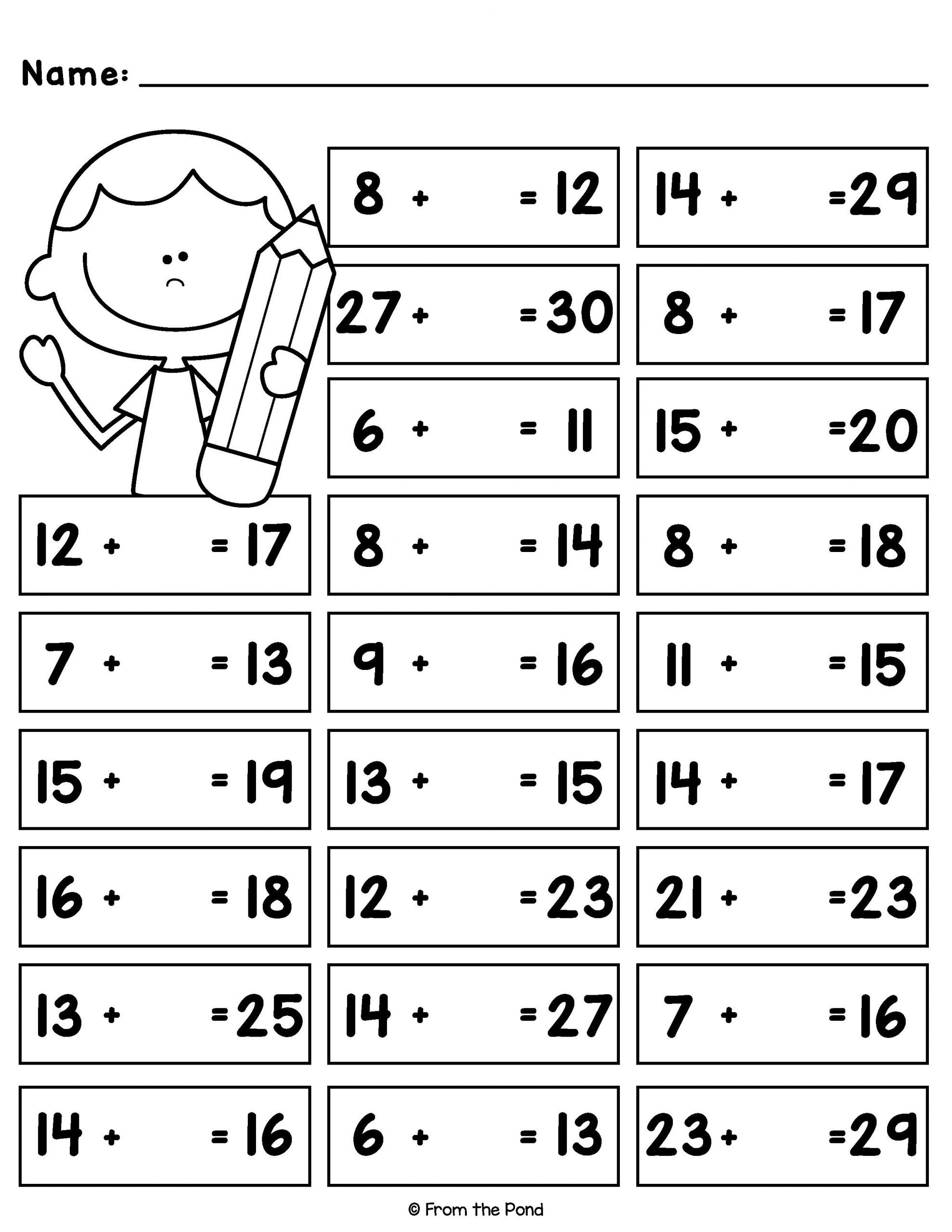 20 Missing Numbers Addition Worksheets